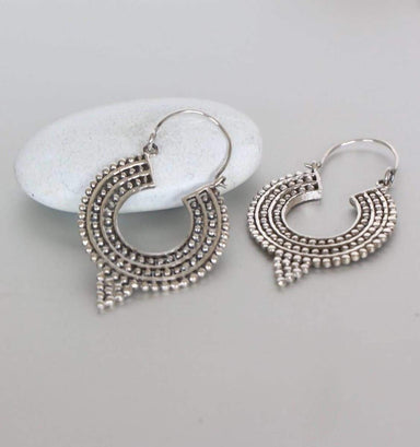 Earrings Silver Ethnic Ear Hoops Dots Hoops,Sterling 26mm Gift Piercing Bali (E120)
