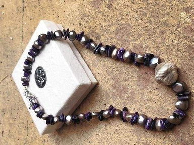 Necklaces Silver freshwater pearl and amethyst necklace