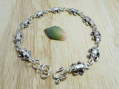 Bracelets Silver Frog Chain Bracelet Handmade Womens Animal Linked