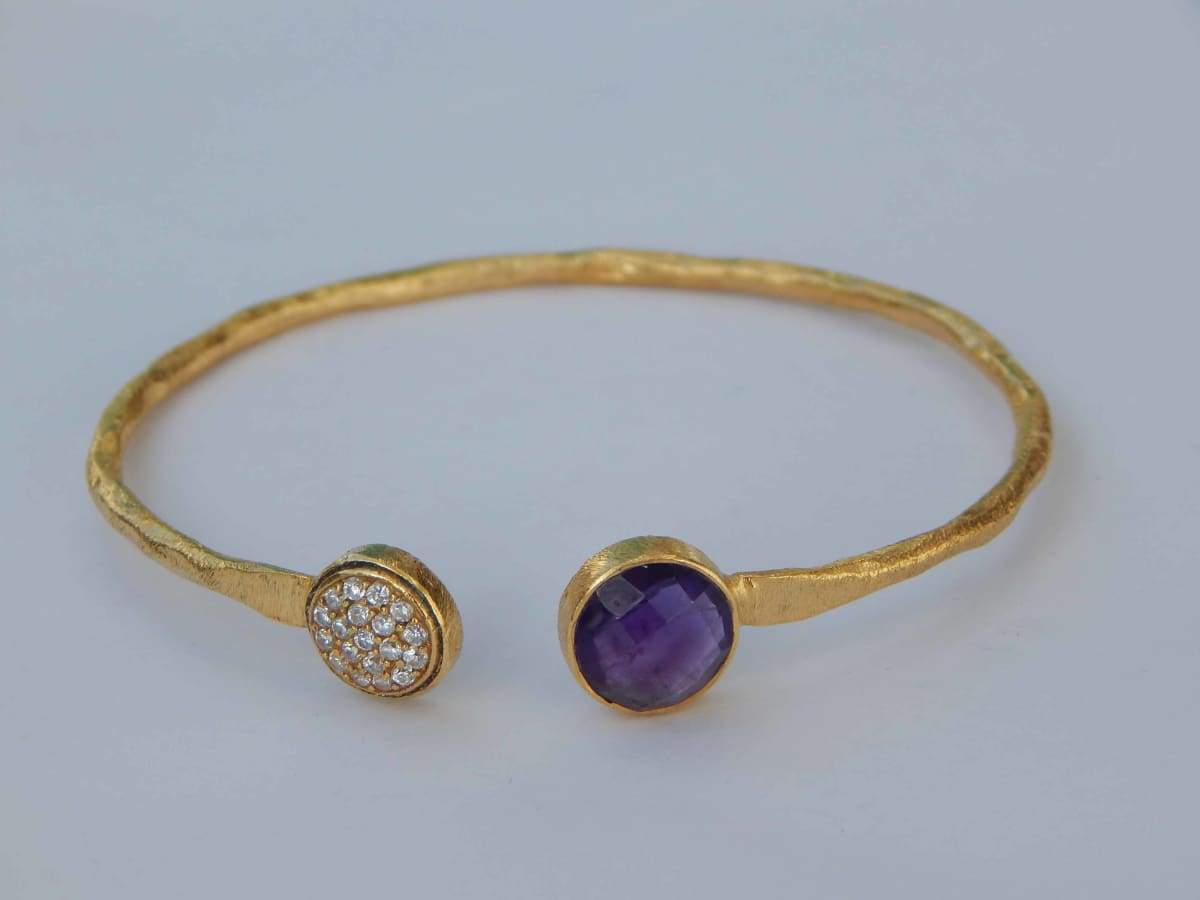 Bracelets Silver Gold Plated Bangle with Amethyst & White CZ bangle