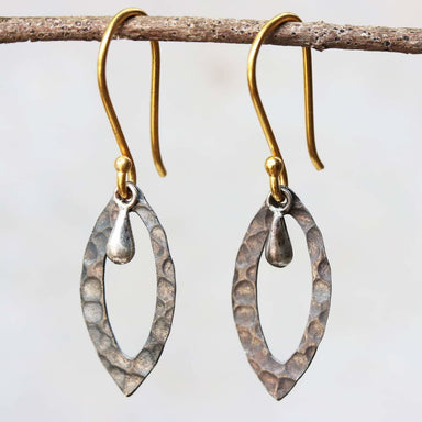 Silver hammered texture earrings with polished silver drop - by Metal Studio Jewelry