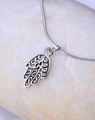 Necklaces Silver hamsa pendant Sterling chain Pendant necklace bohemian PSFC