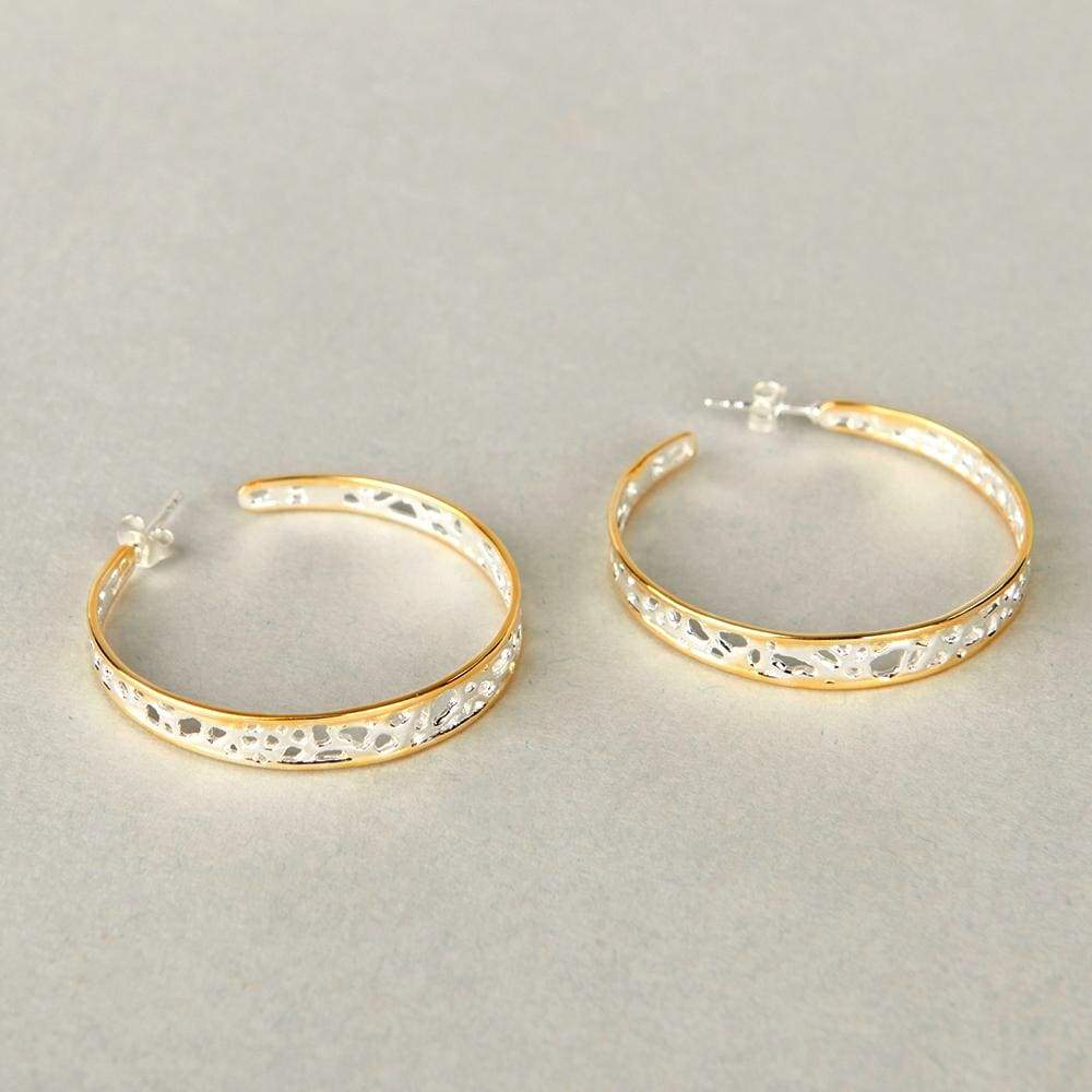 Earrings silver hoop earring designer gold plated - by Maya Studio