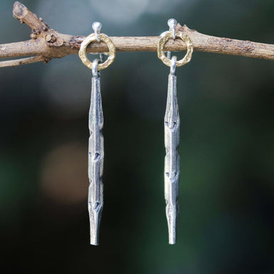 Silver hexagonal sticks with gold hoop earrings - by Metal Studio Jewelry