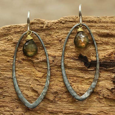 Earrings Silver hoop earrings with drop labradorite