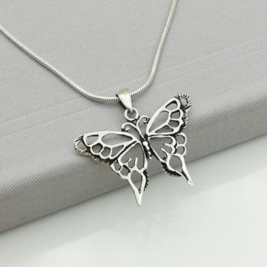 Silver Pendant - Butterfly - Necklace - Filigreed - Jewelry - PD6 - by NeverEndingSilver