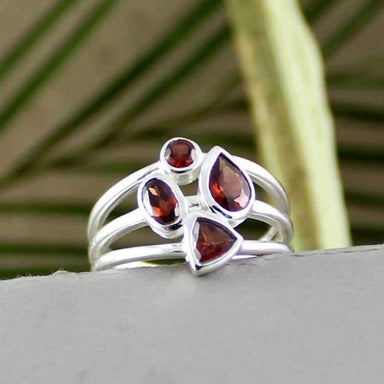 Silver Ring with Valentine Garnet gemstones - Rings
