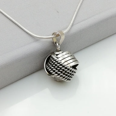 Silver Rings Sphere Pendant - Ball - Oxidized Charm - PD15 - by NeverEndingSilver