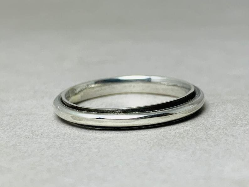 rings Silver Spinner Ring 925 Statement Gyspy Tiny Band Simple - by Heaven Jewelry