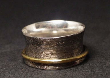 Silver Spinner Ring 925 Sterling Meditation Worry Fidget Oxidized Rustic Band Hammered