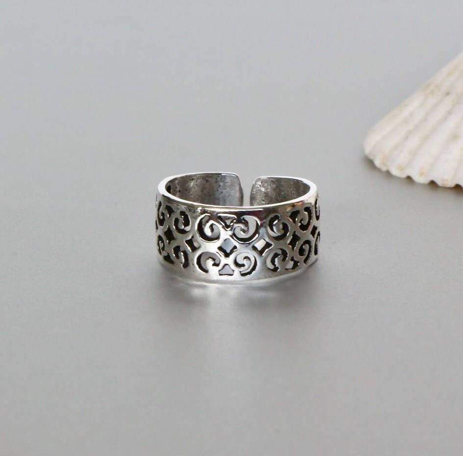 Rings Silver Sterling Toe Ring Set,Silver Set Unisex Band Minimalist Boho Jewelry Pretty Feet (TS39x2)
