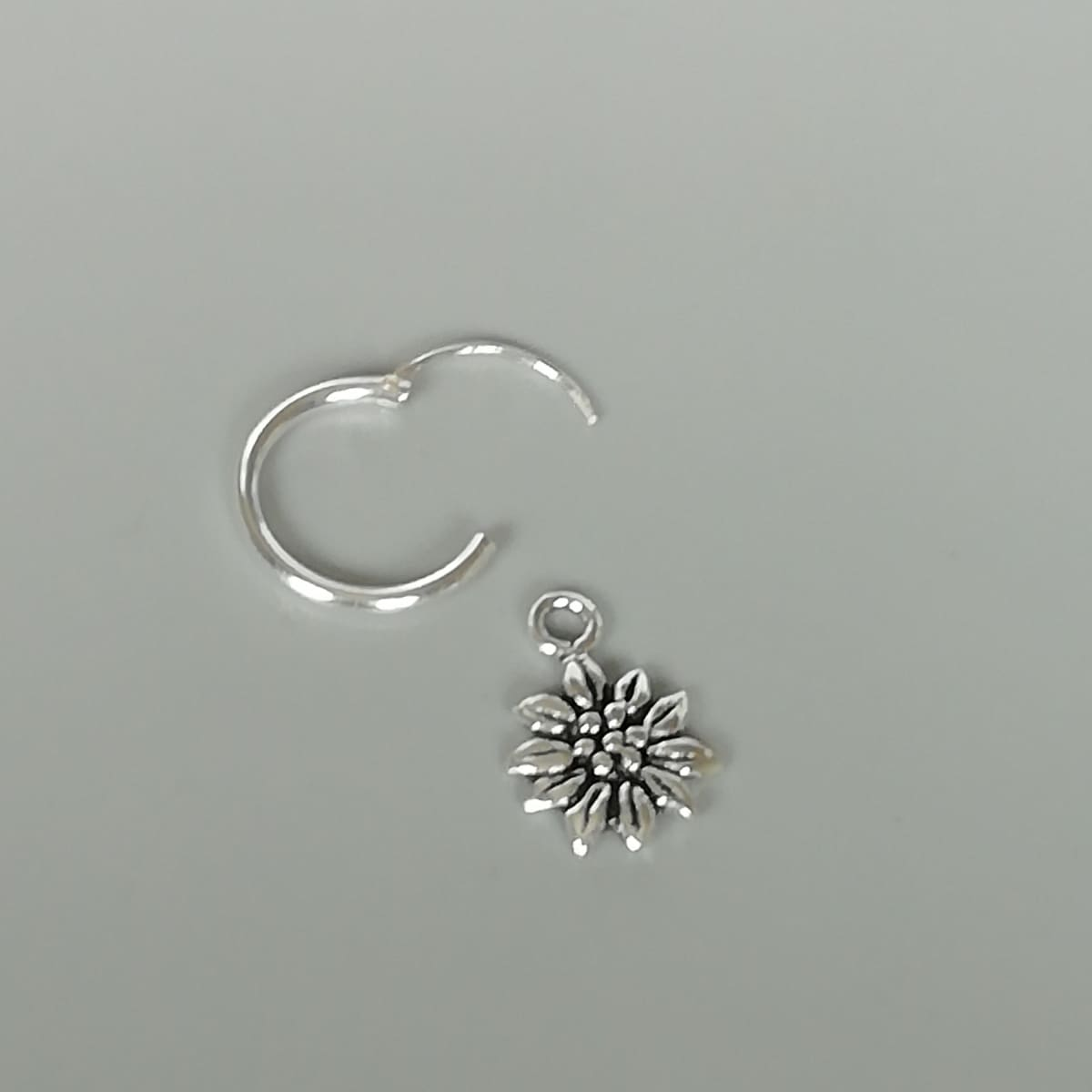 Earrings Silver sunflower charm hoop | Sterling silver ear hoops | Flower | 12 mm earrings | Bohemian jewelry | Gift for her | E393 - by