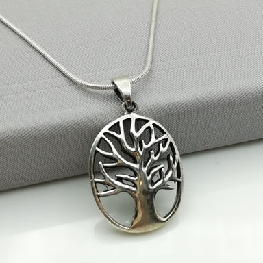Silver tree of life pendant -Sterling silver oxidized charm - PD24 - by NeverEndingSilver