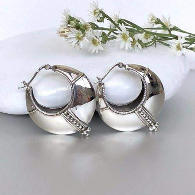 Earrings Silver Tribal Chunky Ear Hoops Egyptian Gift Sterling Piercing (E228)