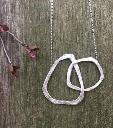 Necklaces silver two organic circles necklace one of a kind present intertwined not perfect textured gift for her delicate mai