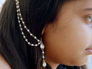 hair accessories Simple Kundan and Pearl Drop Earrings with Ear Chain Classic Indian Sahara - by Pretty Ponytails