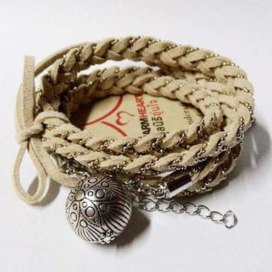 Bracelets Single Fish Egg Beige Leather Wrap Bracelet