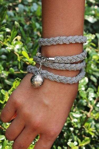 Bracelets Single Fish Egg Grey Leather Wrap Bracelet