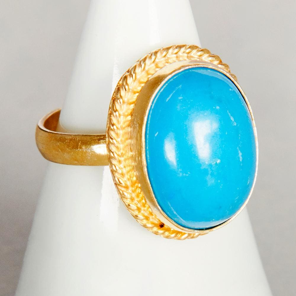 Rings Sleeping Beauty Ring - Arizona Blue Turquoise - Genuine Solid Sterling Silver - Rose Gold - by Subham Jewels