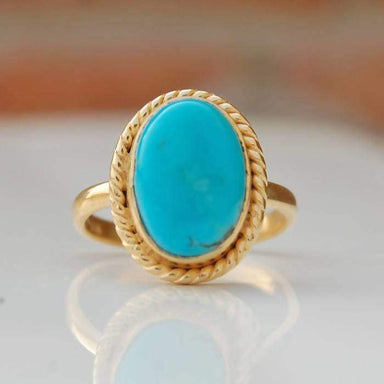 Rings Sleeping Beauty Ring - Arizona Blue Turquoise - Genuine Solid Sterling Silver - Rose Gold