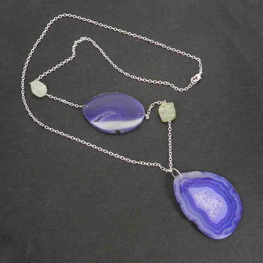 Necklaces Slice Agate and Prehnite Rough Silver Plated Handmade Long Chain Necklace