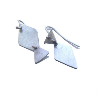 Earrings Small articulated geometric earrings in brushed sterling matte - by dikua