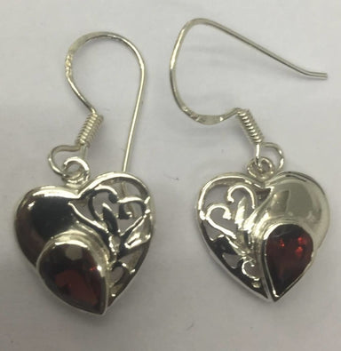 Earrings Small Heart with Pear Shape Stone Silver Earring in Garnet - by TJ GEMS