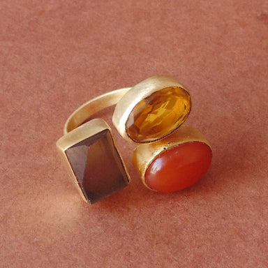 Smoky Quartz Citrine And Carnelian Gemstone Bridal Party Gifts Ring - by Bhagat Jewels