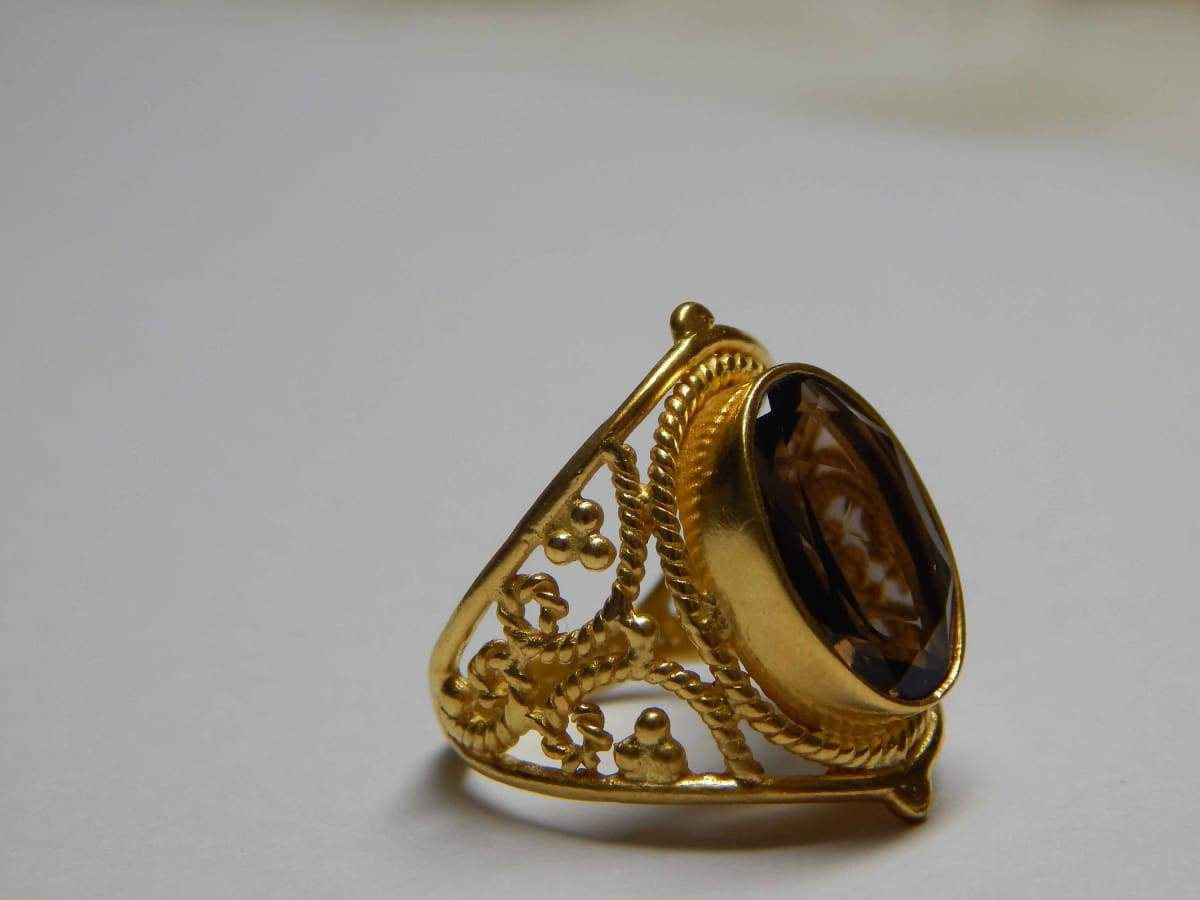 Rings Smoky Quartz Genuine Gemstone Sterling Silver Gold Plated Golden Vermeil 925 Big Stone Exclusive Design Ethnic Jewelry