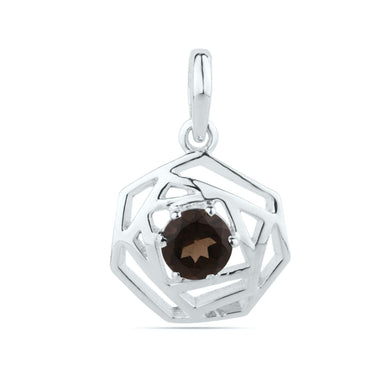 Smoky Quartz Round Pendant Cut Stone Sterling Silver Tiny Gift for Her
