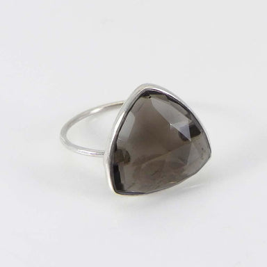 Rings Smoky Quartz Trillion Gemstone Silver Bezel Ring - Brown Stone - Handmade Jewelry