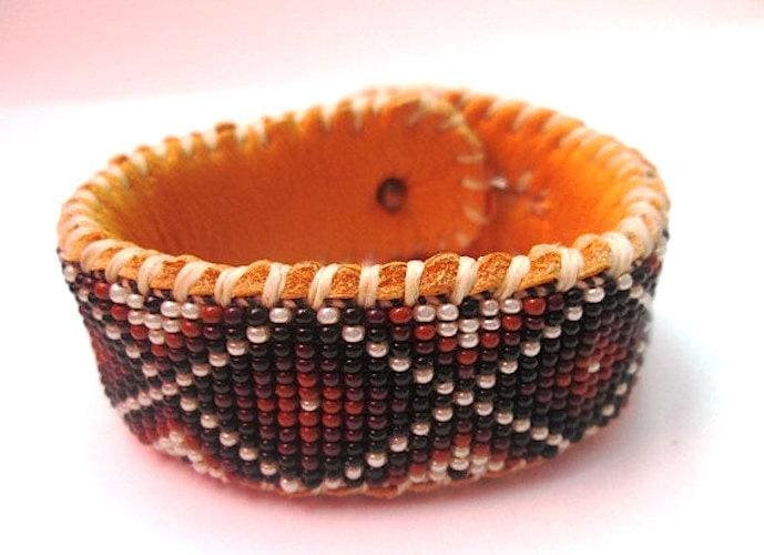 Bracelets Snakeskin Design Beaded Bracelet Your choice of Black Leather or Tanned Deer Hide LIMITED EDITION - by Pachamama Native Art