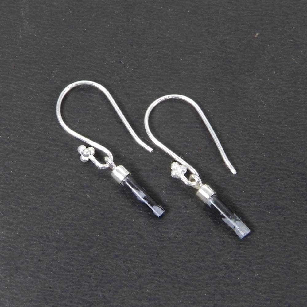 Snowflake obsidian smooth cylinder silver screw caps dangle earring