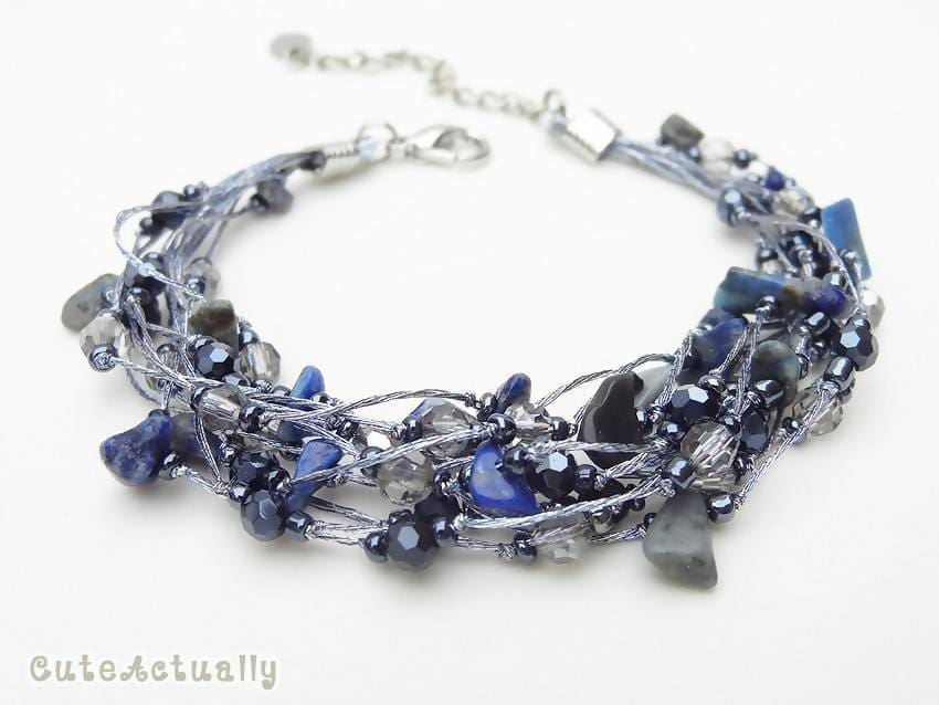 Bracelets Sodalite bracelet with crystal glass beads on silk thread dark blue stone multistrands navy