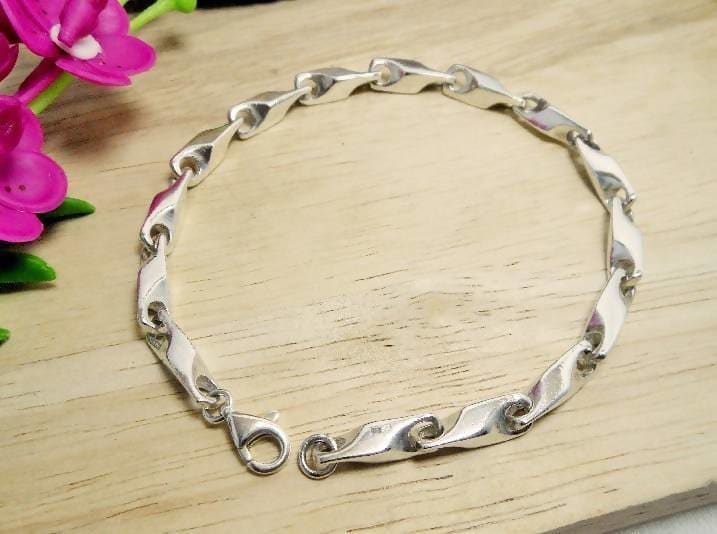 Bracelets Solid 3D Link Chain Bracelet 925 Sterling Silver Handmade Mens Gifts For Him - by Sup