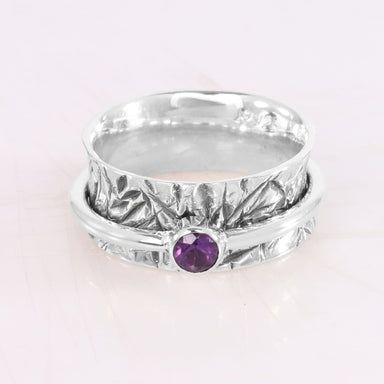 Solid 925 Sterling Silver Amethyst Spinner Ring Meditation Textured Handmade