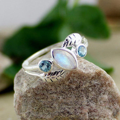 Rings Solid 925 Sterling Silver Jewelry Rainbow Moonstone Blue Topaz ring - by Maya Studio
