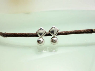 Earrings Solid Ball End Square Stud In 925 Sterling Silver