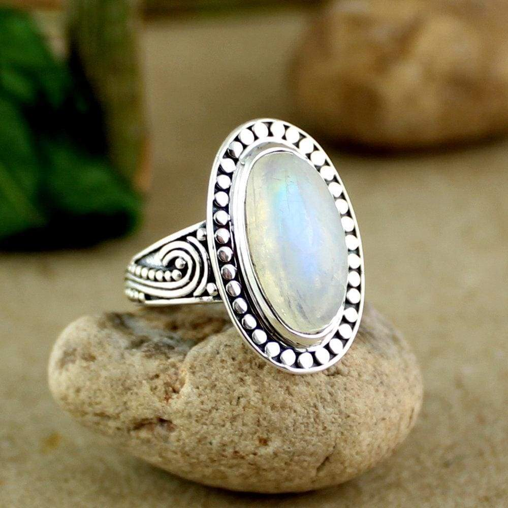 Rings Solid Sterling 925 Silver Handmade Jewelry Rainbow Moonstone ring,