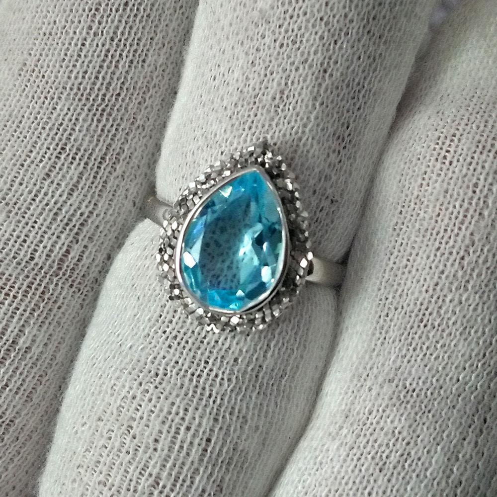 Rings Solitaire blue Topaz Gemstone ring,Solid Sterling 925 silver jewelry