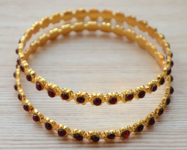 Bracelet South Indian Ruby bangles gold Kemp Stone jewelry - by Pretty Ponytails