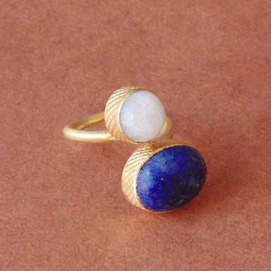 Specific Design Rainbow Moonstone And Lapis Lazuli Gemstone Bypass Ring - by Bhagat Jewels
