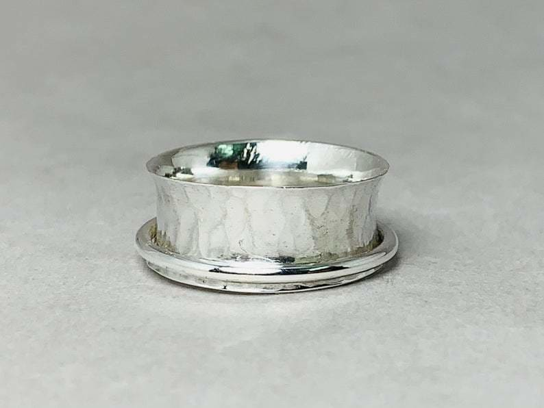 Spinner Ring 925 Silver Handmade Jewelry Hammered Woman Band - by Heaven