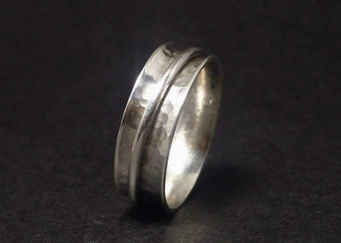 Rings Spinner Ring Band 925 Sterling Silver Hammered Fidget Worry Meditation Gift