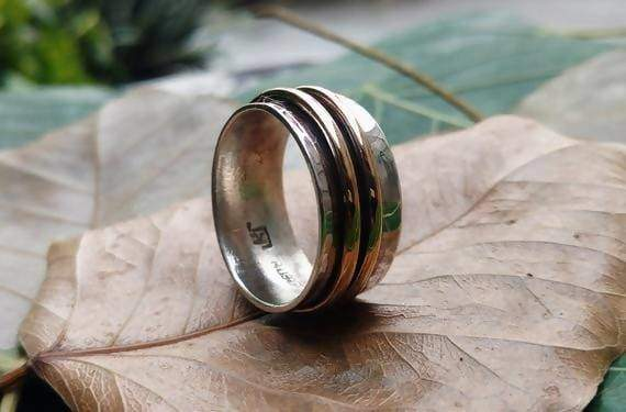 Rings Spinner Ring Meditation Silver Band Sterling 925 Handmade