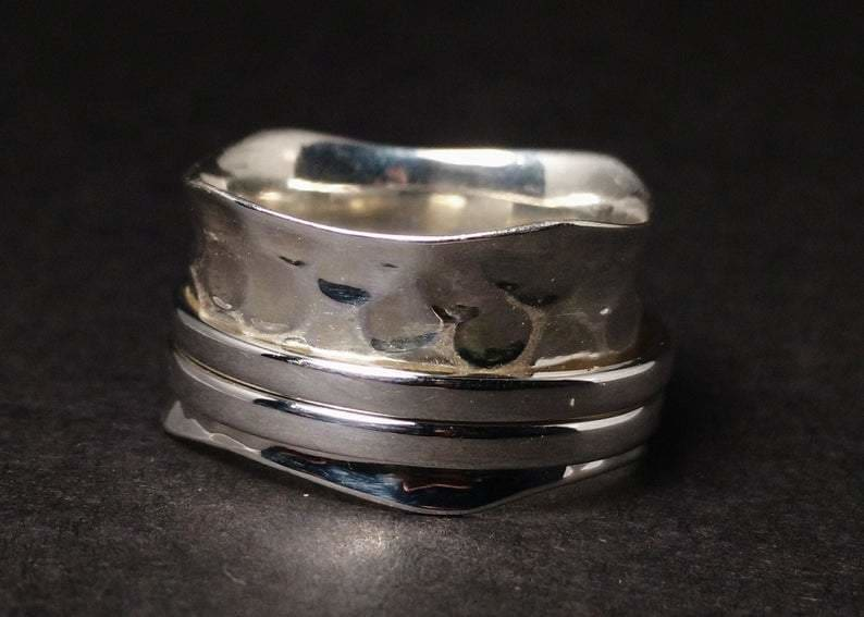 925 Sterling Silver Wide Band/& Spinner Ring* Handmade Ring*Statement Ring*Meditation Ring* Gift Ring* Spinner Ring*Thumb Ring*Free Shipping