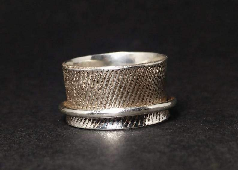 Rings Spinner Ring Wide Band Silver 925 Statement Spinning Sterling Handmade