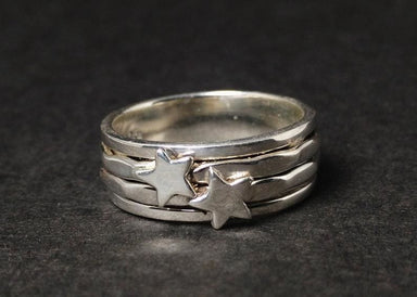 rings Spinner Ring for Women 925 Silver Star Worry Thumb Handmade Fidget - by Heaven Jewelry