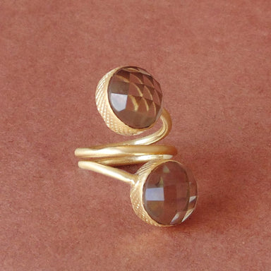 Spiral Design Round Smoky Quartz Gemstone Adjustable Ring - by Bhagat Jewels