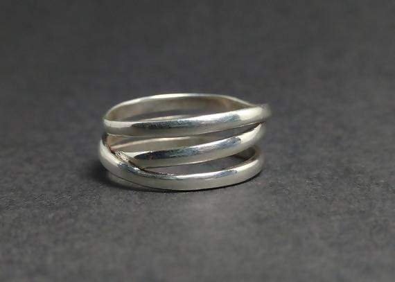 Rings Spiral Ring Silver Round Stackable 925 Statement Stacking